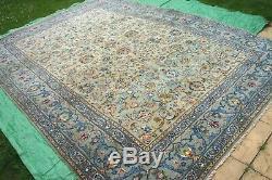 £7000 Antique HANDMADE Persian Kashann hand knotted wool green rug 390 x 270 cm