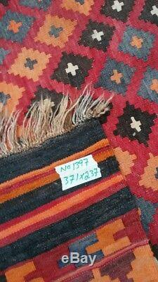7'10 x 12'2 Handmade vintage afghan tribal wool maimana large persian kilim rug