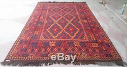 7'10 x 13 ft Handmade vintage afghan tribal maimana wool persian area kilim rug