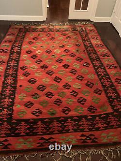 7'3 x 9'3 Vintage Hand Woven Kilim Southwestern Oriental Area Rug