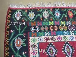 7' X 10' Vintage Turkish Persian Kilim Hand Made Flat Weave Wool Rug Vegy KIZETA