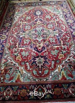 7 x10 or (7.3 x 9.7) Vintage Persian Heriz Rug Antique Turkey Tabriz Serapi