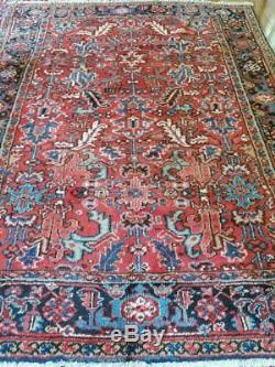 7 x 9 or 6.6 x 8.7 Antique Persian Heriz Rug Serapi Vintage Geometric Design