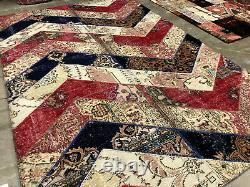 7x10 ANTIQUE HANDMADE WOOL RUG HAND KNOTTED vintage PATCHWORK carpet 6x9 8x10 ft