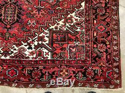 7x10 ANTIQUE RUG HAND KNOTTED WOOL handmade vintage oriental geometric 7x9 8x10
