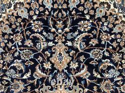 7x10 BLUE VINTAGE RUG WOOL HAND KNOTTED handmade antique oriental dark navy 6x9