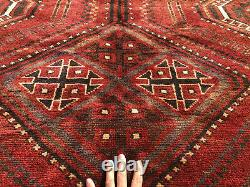 7x10 VINTAGE WOOL RUG HAND-KNOTTED WOOL handmade red black gray oriental 8x10 ft
