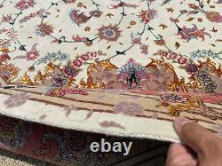 7x10 WOOL SILK VINTAGE RUG HAND-KNOTTED ORIENTAL fine antique handmade 8x10 6x9