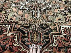 7x9 VINTAGE HERIZ RUG HAND KNOTTED WOOL antique handmade geometric oriental 6x9