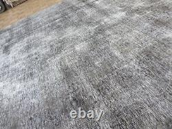 8'11 X 12'6 Hand Knotted Vintage Overdyed Gray Persian Tabrez Oriental Rug G6290