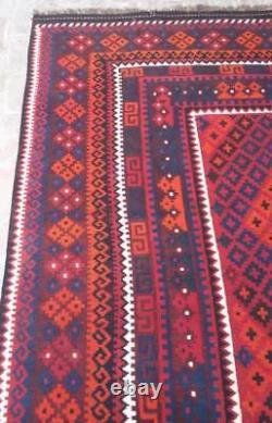 8'7 x 13'6 Handmade vintage afghan tribal maimana persian wool large kilim rug