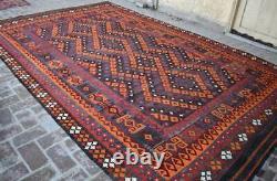8'7 x 13'9 Handmade vintage afghan tribal maimana wool persian large kilim rug