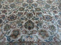 8' X 10' Vintage Hand Knotted Made Indo Persian Sarouk Mahal Wool Rug Nice IVORY