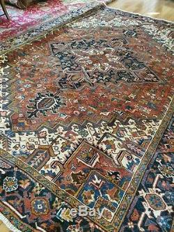8 x10 Or7.7x10.5 VINTAGE HERIZ RUG ANTIQUE PERSIAN IRAN TABRIZ Turkish SERAPI