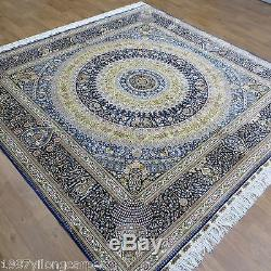 8'x8' traditional blue vtg handmade oriental persian silk carpet
