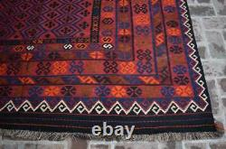8 x 14'2 ft Handmade vintage afghan tribal maimana wool large persian kilim rug