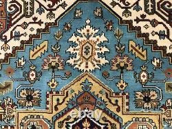 8x10 BLUE WOOL RUG HANDMADE HAND-KNOTTED LIGHT oriental hand-woven tribal carpet