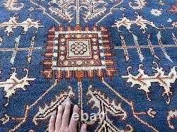 8x10 BLUE WOOL RUG HANDMADE HAND-KNOTTED navy oriental hand-woven tribal carpet