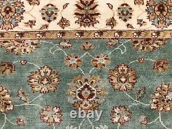 8x10 HANDMADE WOOL RUG HAND-KNOTTED oriental carpet light green aqua blue ushak