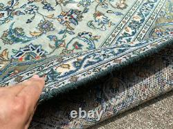 8x11 GREEN ANTIQUE RUG HAND-KNOTTED VINTAGE handmade handwoven blue carpet 8x10