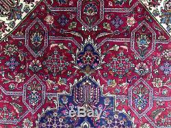 8x11 RED VINTAGE RUG HAND KNOTTED WOOL ORIENTAL worn antique handmade heriz 8x12