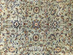 8x12 GREEN ANTIQUE RUG HAND-KNOTTED WOOL muted vintage oriental handmade 9x12 ft