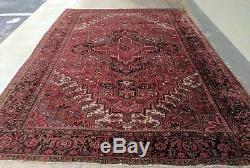 9'4 x 12'6 Antique Heriz Persian Rug Vintage