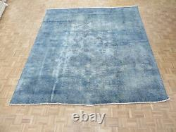 9'9 X 10'7 Hand Knotted Overdyed Blue Persian Vintage Oriental Rug G6364