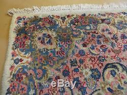 9' X12' Vintage Persian Hamadan Bibikabad Kirman Wool Rug Hand Knotted Iran Nice