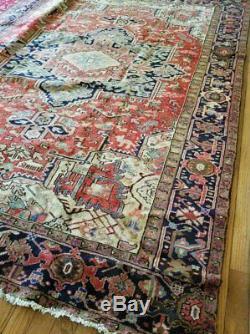 9 x12 or 8.1 x 11.2 Vintage Heriz Rug Persian Iran Turkish Antique Tabriz