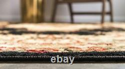 9 x 12 feet Traditional Area Rug Vintage Floral Medallion Pattern Cream/Black