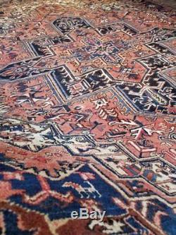 9 x 12 or 8.2 x 11.6 Vintage Heriz Rug Persian Serapi Iran Turkish Tabriz Antiqu
