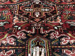 9x12 ANTIQUE HERIZ RUG HAND KNOTTED VINTAGE WOOL oriental handmade serapi 8x11