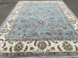 9x12 BLUE HANDMADE WOOL RUG HAND-KNOTTED oriental carpet light sky aqua turkish