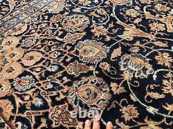 9x12 BLUE VINTAGE WOOL RUG HAND-KNOTTED oriental antique handmade carpet 10x13
