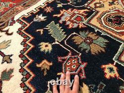 9x12 BLUE WOOL HANDMADE RUG HAND-KNOTTED DARK navy rust geometric hand-woven rug