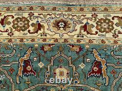 9x12 BLUE WOOL HAND-KNOTTED RUG HANDMADE hand-woven carpet big heriz aqua teal