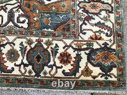 9x12 BLUE WOOL HAND-KNOTTED RUG HANDMADE handwoven tribal traditional carpet rug