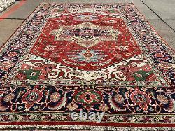 9x12 HANDMADE WOOL RUG RUST HAND-KNOTTED hand-woven carpet big heriz navy blue