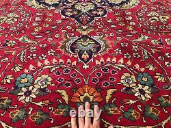 9x12 RED ANTIQUE ORIENTAL RUG HAND-KNOTTED WOOL blue big vintage handmade carpet