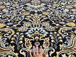 9x12 VINTAGE BLUE WOOL RUG HAND-KNOTTED oriental ANTIQUE handmade carpet 10x12