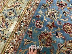 9x13 VINTAGE BLUE WOOL RUG HAND KNOTTED antique handmade oriental carpet 9x12 ft