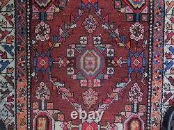 ANTIQUE ORIENTAL RUNNER C. 1900 3x11 Reds/Blues Heriz Kazak Arts & Crafts rug