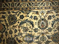 ANTIQUE PERSIAN KASHAN 9x12 RUG veggie dyed cream and blue