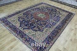 ANTIQUE PERSIAN Tabriz BLUE CARPET HANDMADE WOOL 272 x 202 CM 9 x 6'7 FT