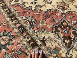 ANTIQUE WOOL RUG 8x12 HAND-KNOTTED PINK VINTAGE oriental handmade mute 8x11 9x12