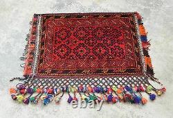 Afghan Persian Vintage Handmade 100% Wool Pile Rug Floor Cushion Pillow Cover