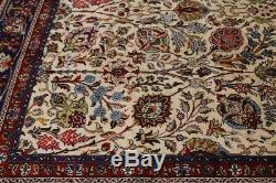 All-Over Floral Ivory 10X13 Vintage Hand Knotted Large Oriental Area Rug Carpet