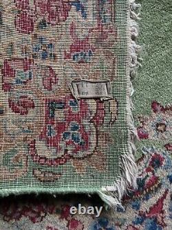 Antique 3x5 Persian Kermann Oriental Wool Area Rug RARE color green