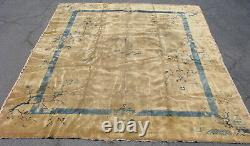 Antique Chinese Peking rug Art Deco hand knotted wool beige blue 12x14.4 #8893